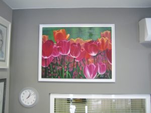 """Imagen de cuadro moderno enmarcado """"Tulipanes II"""" Oleo sobre lienzo Enmarcado"""